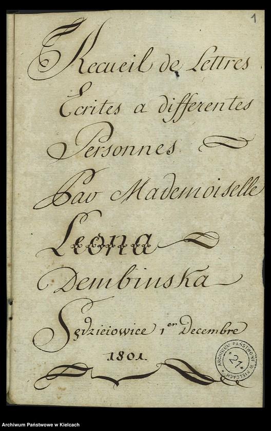 "Obraz z jednostki ""Recueil de lettres ecrites a differentes personnes par mademoiselle Leona Dembińska"""