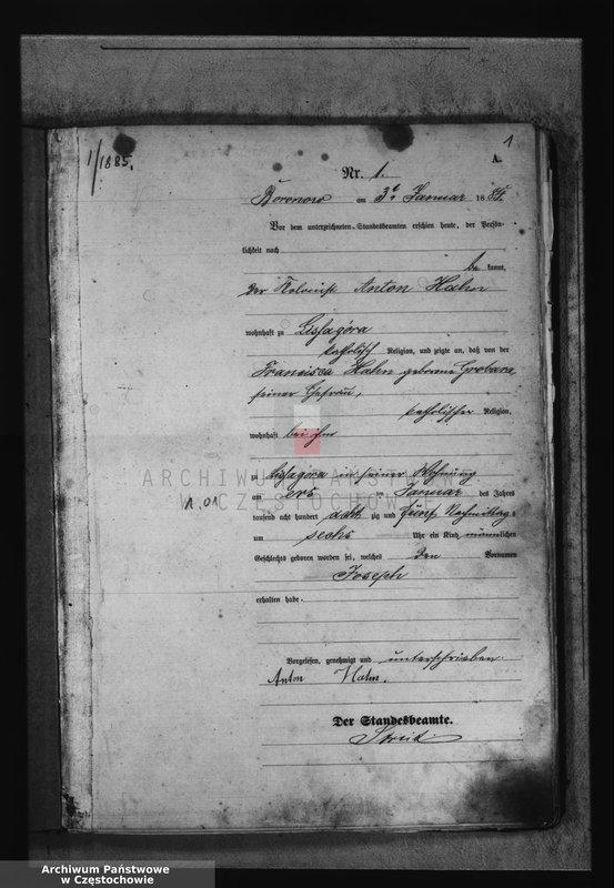 """Obraz z jednostki """"[Pierwopis aktów urodzeń z 1885 roku]."""""""