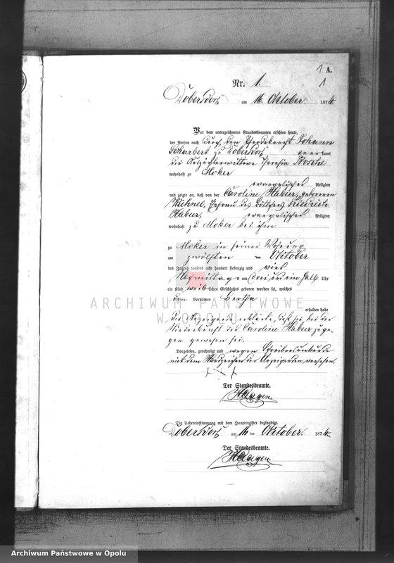 "Obraz z jednostki ""Geburts-Neben-Register des Standesamtsbezirks Dobersdorf pro 1874"""