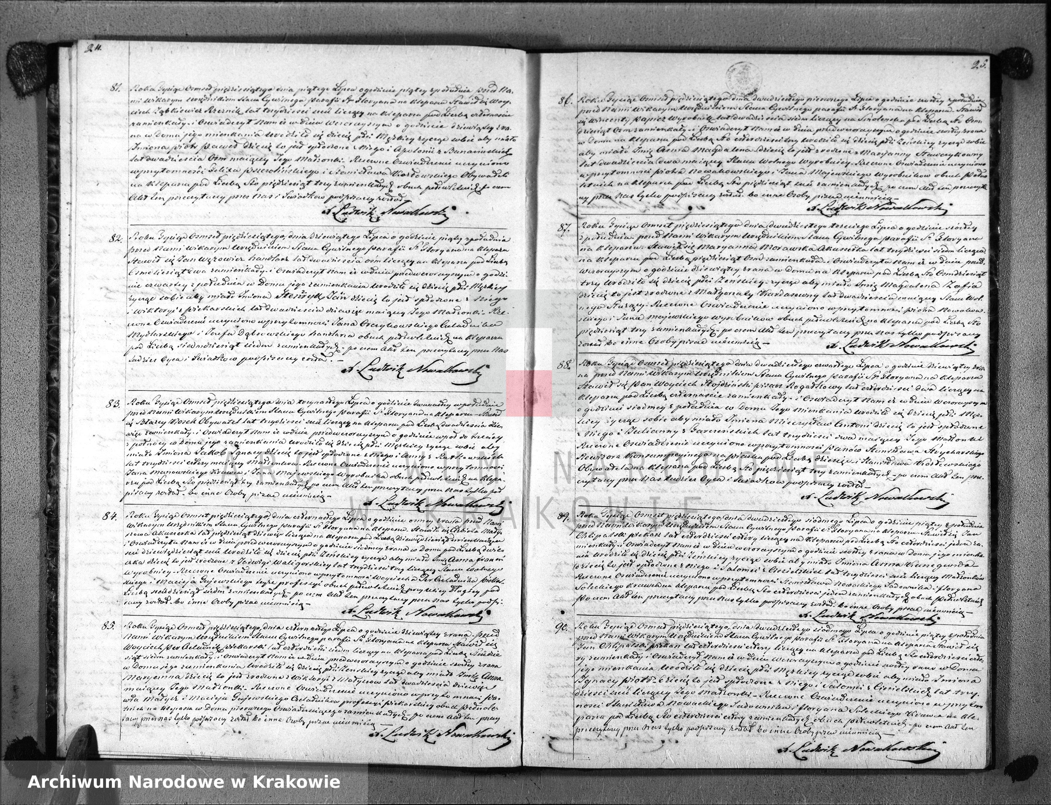 Skan z jednostki: Księga Aktów Urodzenia Uznania i Przysposobienia dla Parafii Sgo Floryana na Kleparzu na rok 1850
