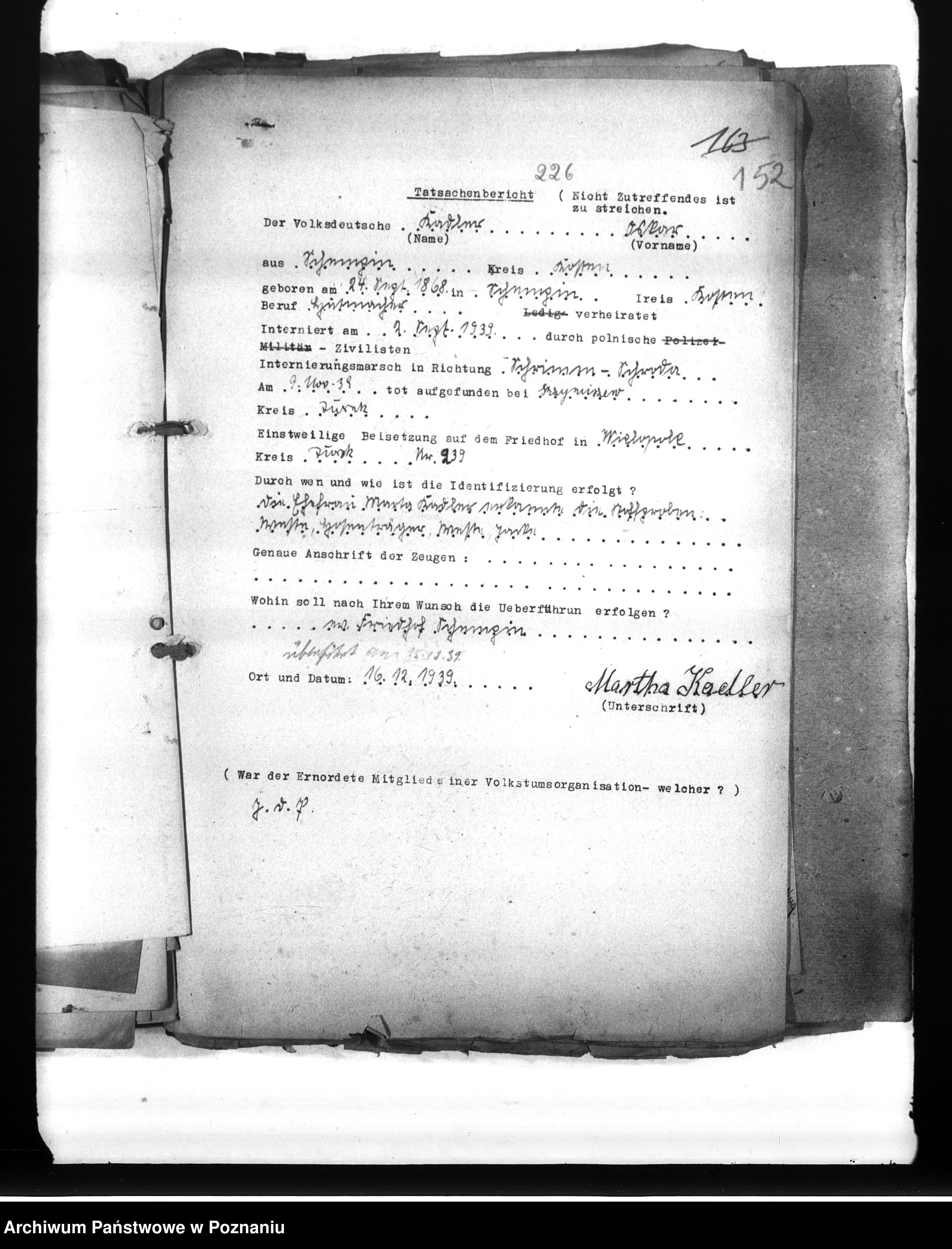 Skan z jednostki: Wykazy Niemców wielkopolskich, którzy zginęli w 1939 roku A - L