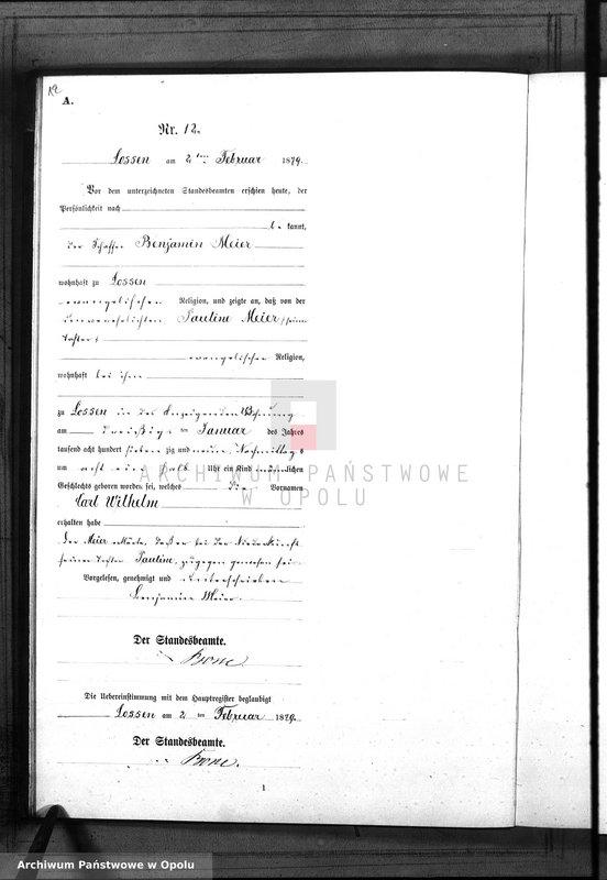 "Obraz 15 z jednostki ""Geburts-Neben-Register Standes-Amt Lossen 1879"""