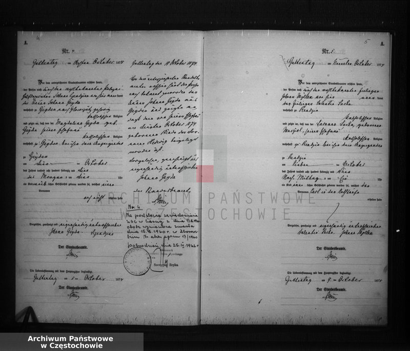 """Obraz z jednostki """"Geburts - Neben Register der Standesamt Guttentag für der Jahre 1874."""""""
