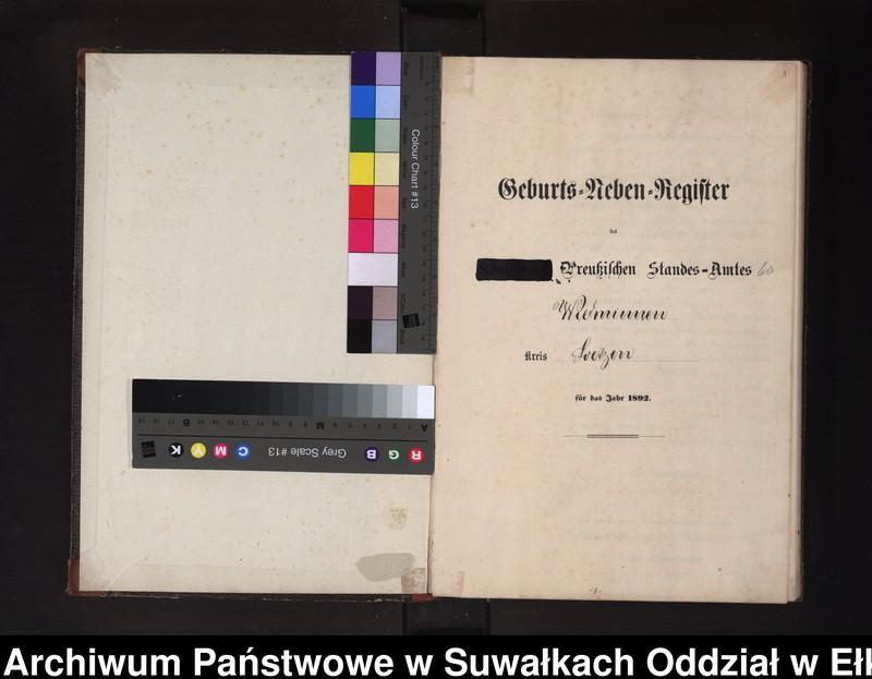 """Obraz z jednostki """"Geburts-Neben-Register des Preussischen Standes-Amtes Widminnen Kreis Loetzen"""""""