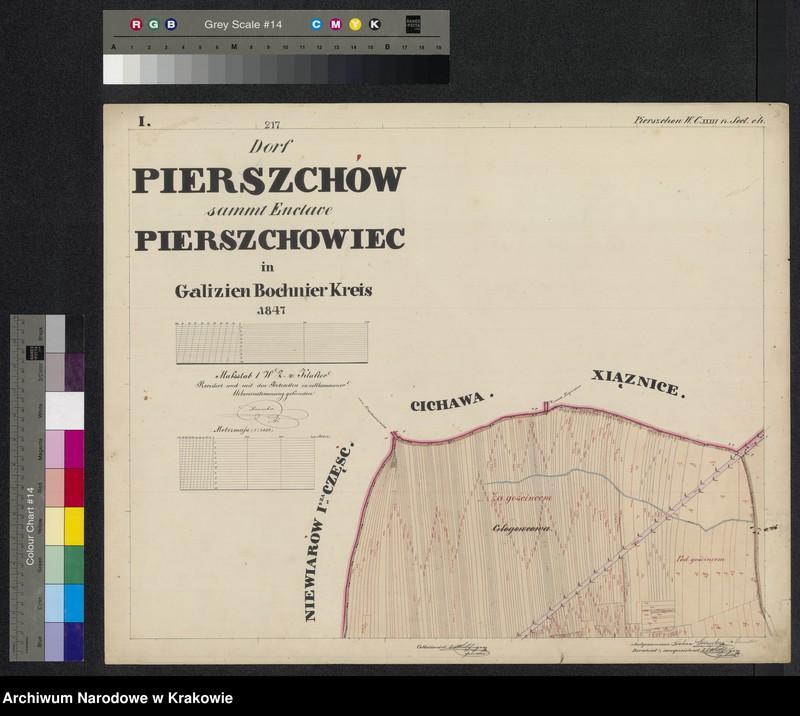 """Obraz z jednostki """"217 Dorf Pierszchów [Pierzchów] sammt Enclave Pierszchowiec [Pierzchowiec] in Galizien Bochnier Kreis"""""""