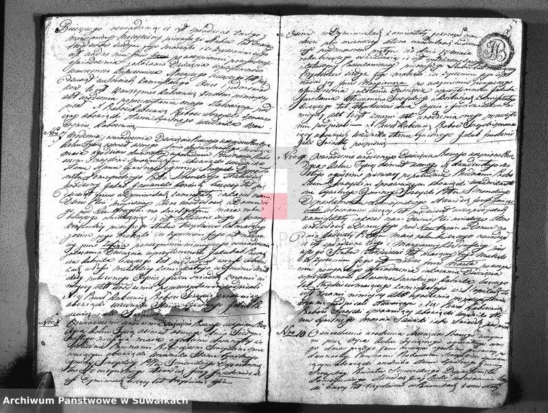 """Obraz z jednostki """"Księga parafi sereyskiey urodzonych stanu cywilnego powiatu seyneńskiego w departamencie łomżyńskim sporządzone w roku 1808 dnia 1-go maia"""""""