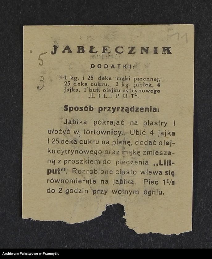 """Obraz 2 z kolekcji """"Przepisy kulinarne z kalendarza z 1935 roku"""""""