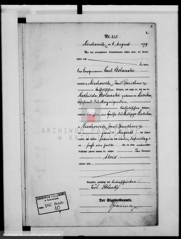 """Obraz z jednostki """"Księga urodzeń za rok 1879, t.II [nr 235 - 395]"""""""