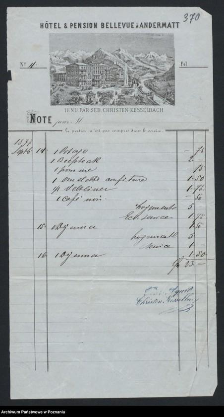 """Obraz 1 z kolekcji """"Egzotyczny papier listowny i rachunki z elitarnych hoteli - podróże rodziny Radolińskich"""""""