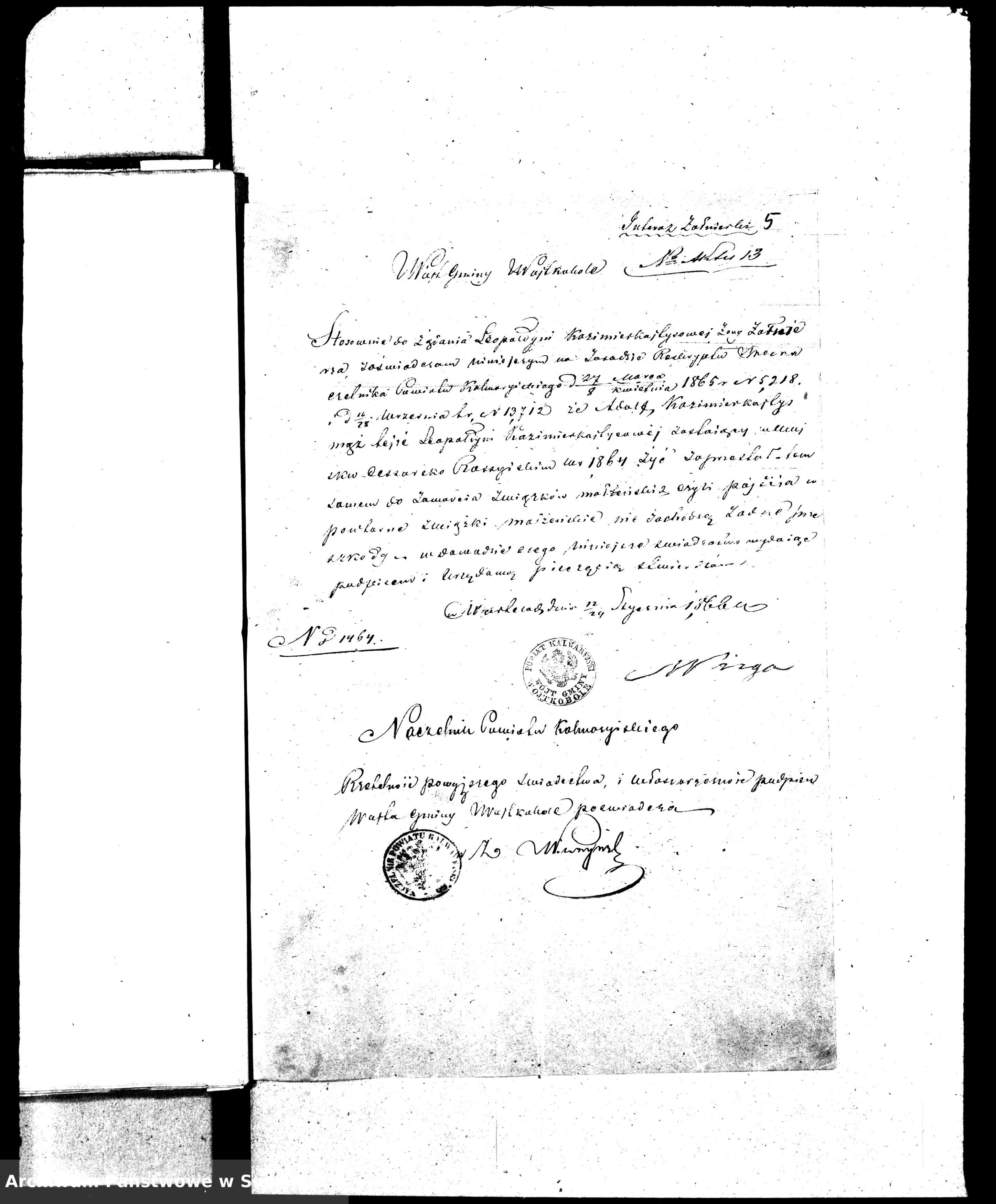 Skan z jednostki: Dowody do Aktów Małżeństw Parafii Ew.-Augsburskiej Wiżajny za rok 1866