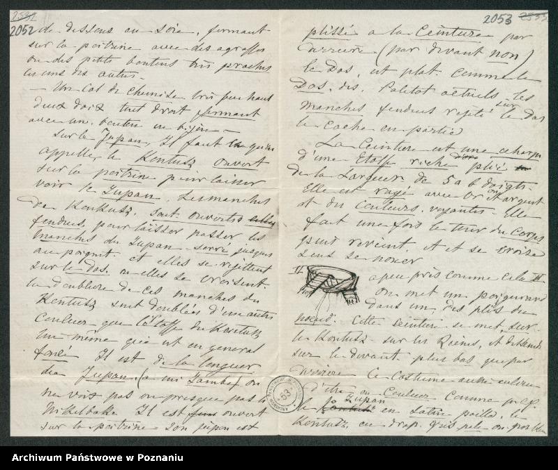 """Obraz 4 z kolekcji """"Szkice krawieckie w korespondencji Józefy Radolińskiej (1809-1880) z jej synem Hugonem (1841-1917) i synową Lucy Catherine Wakefield"""""""