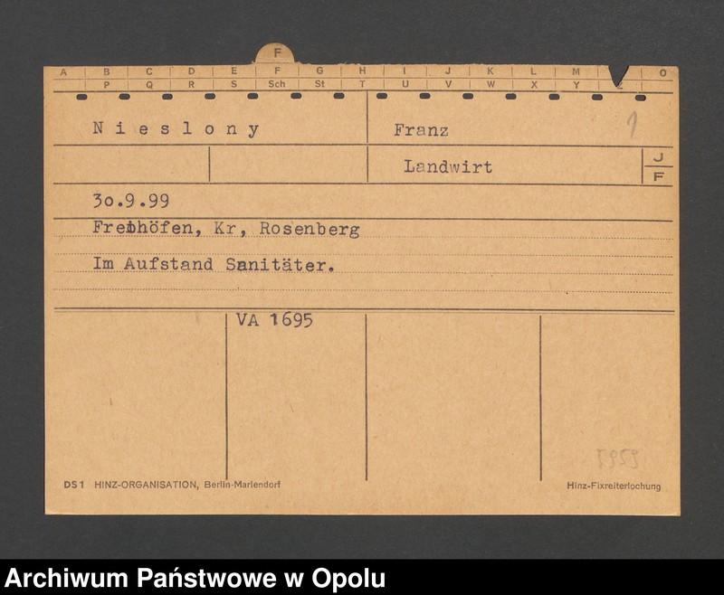 """Obraz 3 z jednostki """"[Nieslony Franz, ur. 30.9.1899, zam. Freihöfen]"""""""
