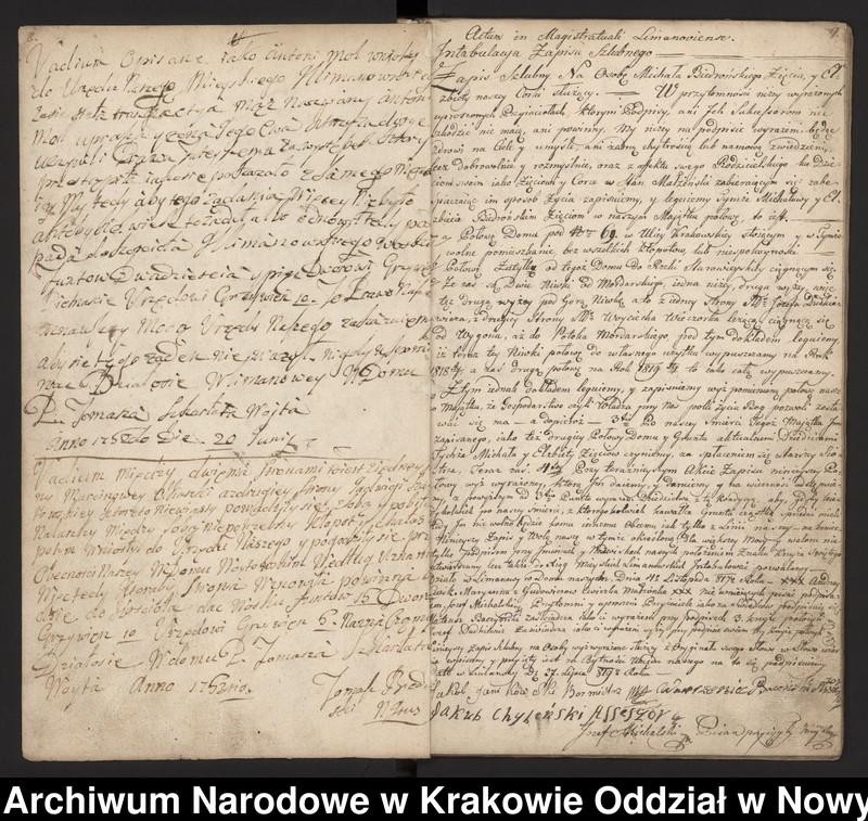 """Obraz 3 z kolekcji """"Fragment księgi wójtowsko-ławniczej miasta Limanowej z lat 1750-1818"""""""