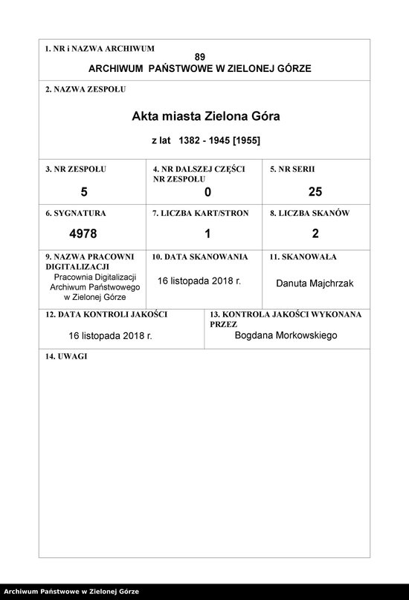 """Obraz z zespołu """"Akta miasta Zielona Góra"""""""