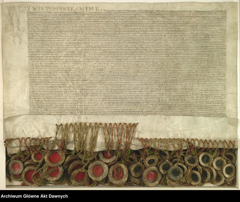 """Obraz 1 z jednostki """"Panowie rady i posłowie ziemscy Wielkiego Księstwa Litewskiego odnawiają unię z Koroną Polską. Unia lubelska."""""""