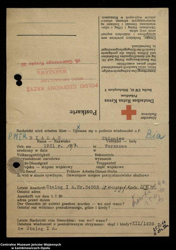 """Obraz z jednostki """"Poszukiwania jeńców polskich zwolnionych z niewoli niemieckiej jako robotnicy cywilni, lit. Ada-Bod"""""""