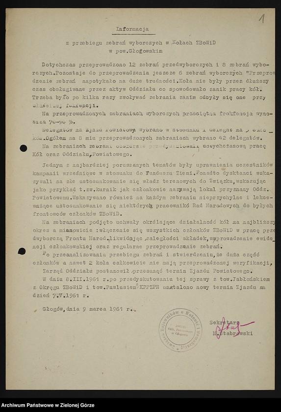 """Obraz z jednostki """"Oddział Powiatowy ZBoWiD w Głogowie. Kampania sprawozdawczo-wyborcza Zarządu Oddziału Powiatowego ZBoWiD w Głogowie z lat 1961-1963"""""""