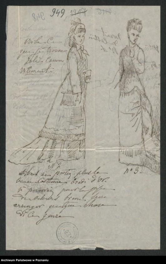 """Obraz 2 z kolekcji """"Szkice krawieckie w korespondencji Józefy Radolińskiej (1809-1880) z jej synem Hugonem (1841-1917) i synową Lucy Catherine Wakefield"""""""