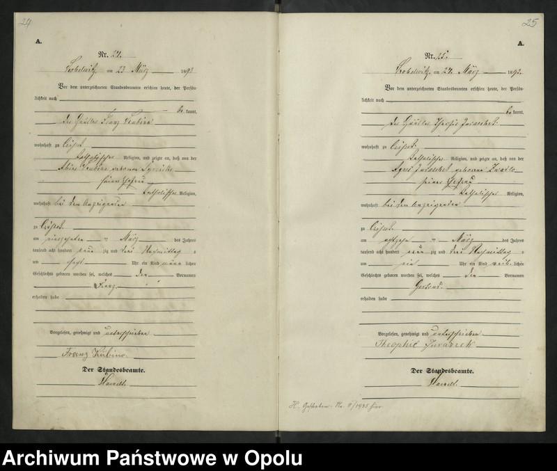 """Obraz 16 z jednostki """"Urząd Stanu Cywilnego Kobylice Księga urodzeń rok 1893"""""""