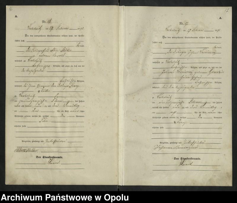 """Obraz 12 z jednostki """"Urząd Stanu Cywilnego Kobylice Księga urodzeń rok 1893"""""""