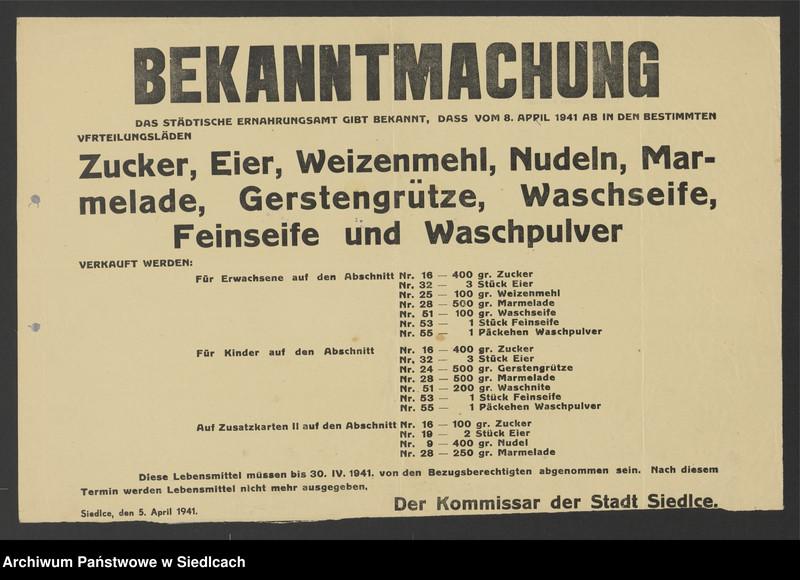 """Obraz 23 z kolekcji """"Afisze okupacyjne powiatu siedleckiego 1939-1944"""""""
