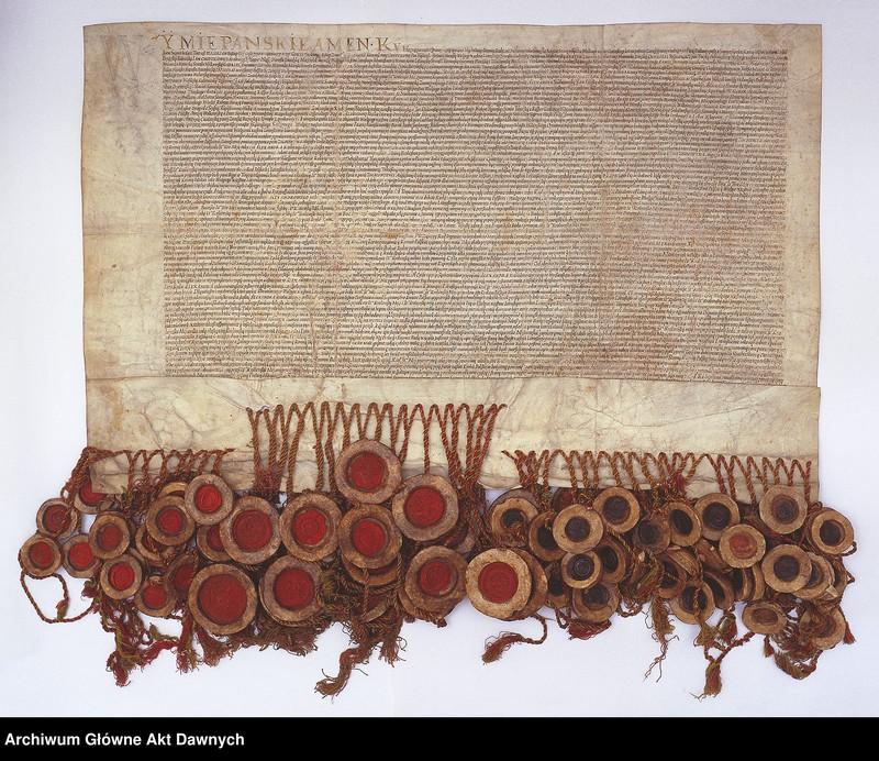 """Obraz z jednostki """"Panowie rady i posłowie ziemscy Wielkiego Księstwa Litewskiego odnawiają unię z Koroną Polską. Unia lubelska."""""""