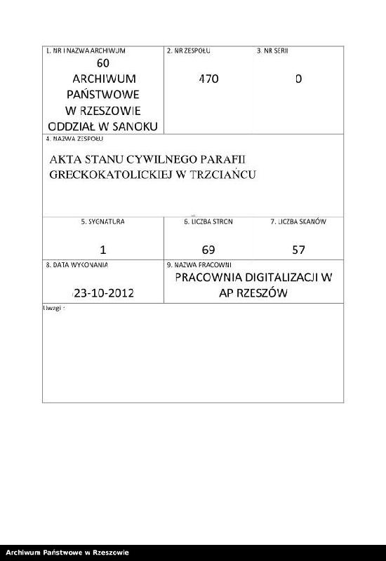 """Obraz z zespołu """"Akta stanu cywilnego Parafii Greckokatolickiej w Trzciańcu"""""""