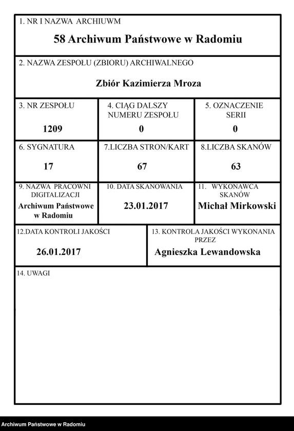 """Obraz 1 z jednostki """"[Rękopis pracy Kazimierza Mroza pt. """"Zegar astronomiczny Franciszka Karasia z Jastrzębi""""]"""""""