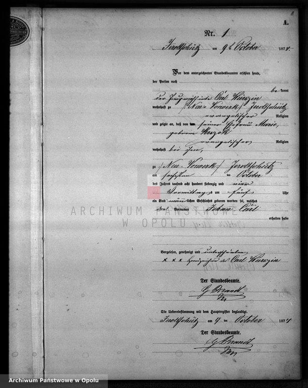 "Obraz z jednostki ""Geburts-Neben-Register Jeroltschütz 1874"""