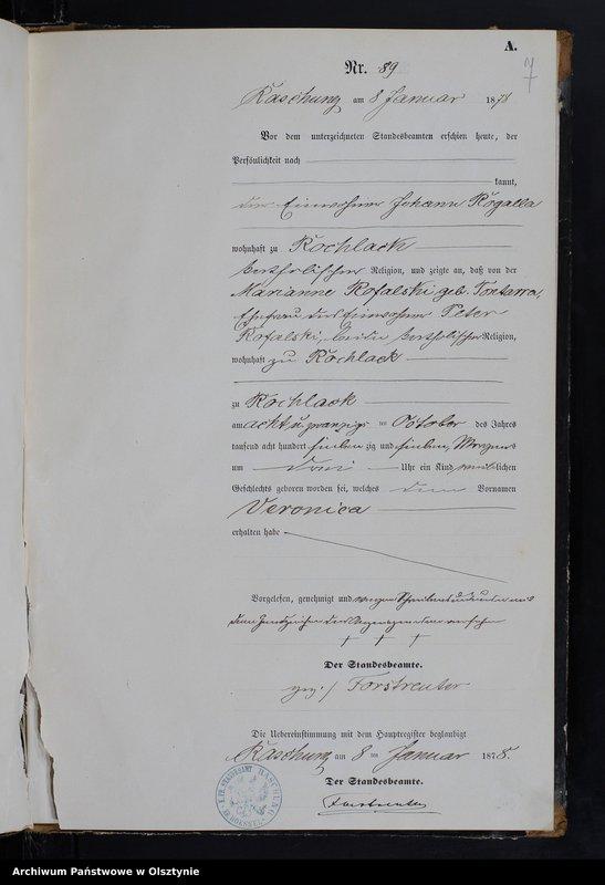 """image.from.team """"Urząd Stanu Cywilnego w Raszągu pow. biskupiecki (dawny pow. reszelski)"""""""