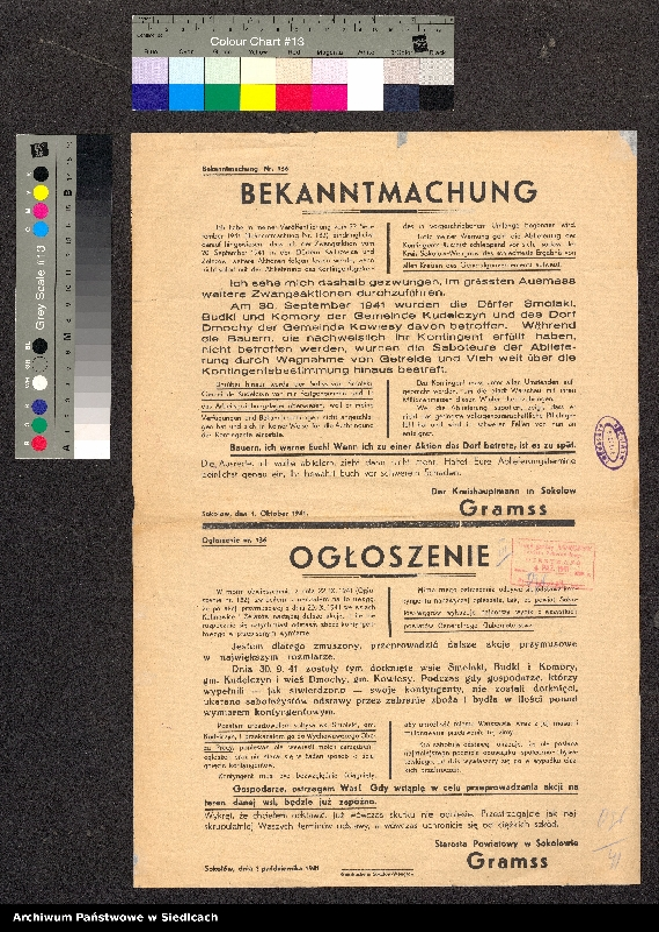 """Obraz 1 z kolekcji """"Afisze okupacyjne powiatu sokołowskiego 1939-1944"""""""