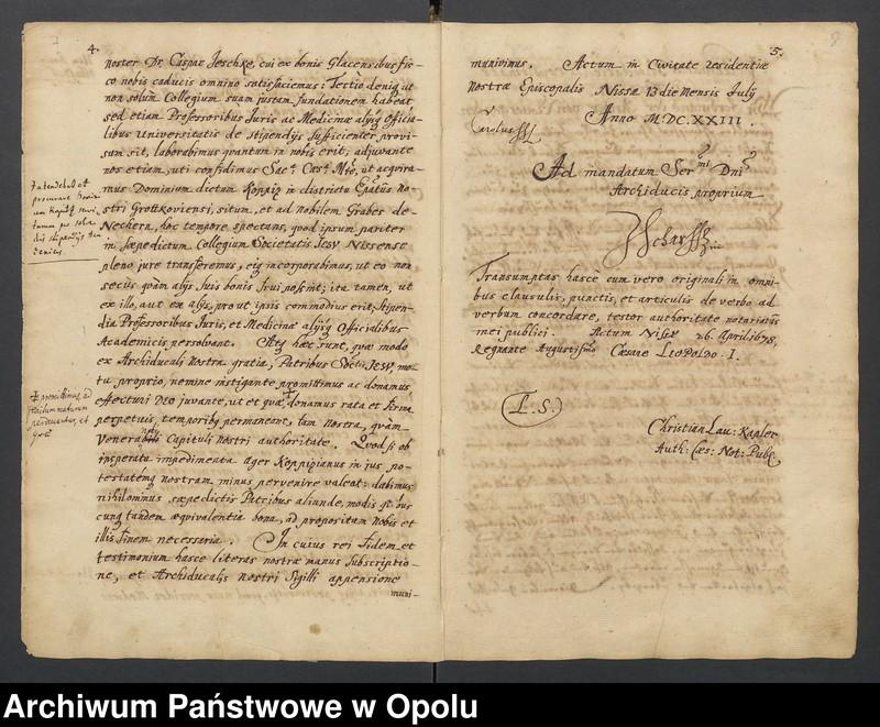 """Obraz 10 z kolekcji """"Księga dokumentów fundacyjnych Kolegium Jezuitów w Nysie"""""""