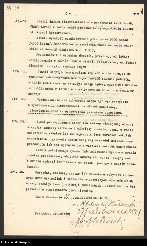 """Obraz 2 z kolekcji """"Dekret Rady Regencyjnej o opiece nad zabytkami sztuki i kultury ."""""""