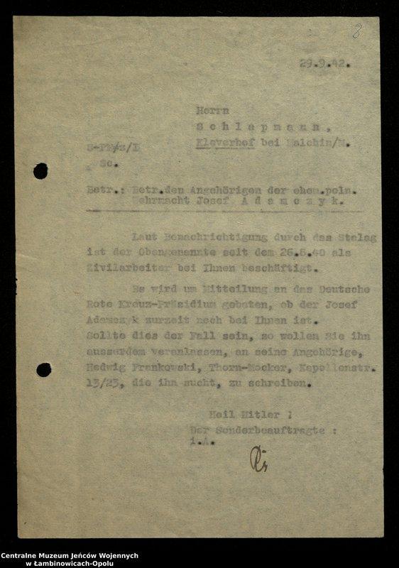 """Obraz 9 z jednostki """"Poszukiwania jeńców polskich zwolnionych z niewoli niemieckiej jako robotnicy cywilni, lit. Ada-Bod"""""""
