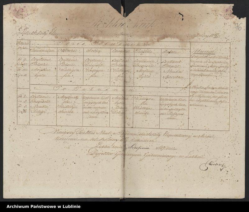 """Obraz 1 z kolekcji """"Rozkład zajęć Szkoły Elementarnej w Urzędowie (1836-1861)"""""""