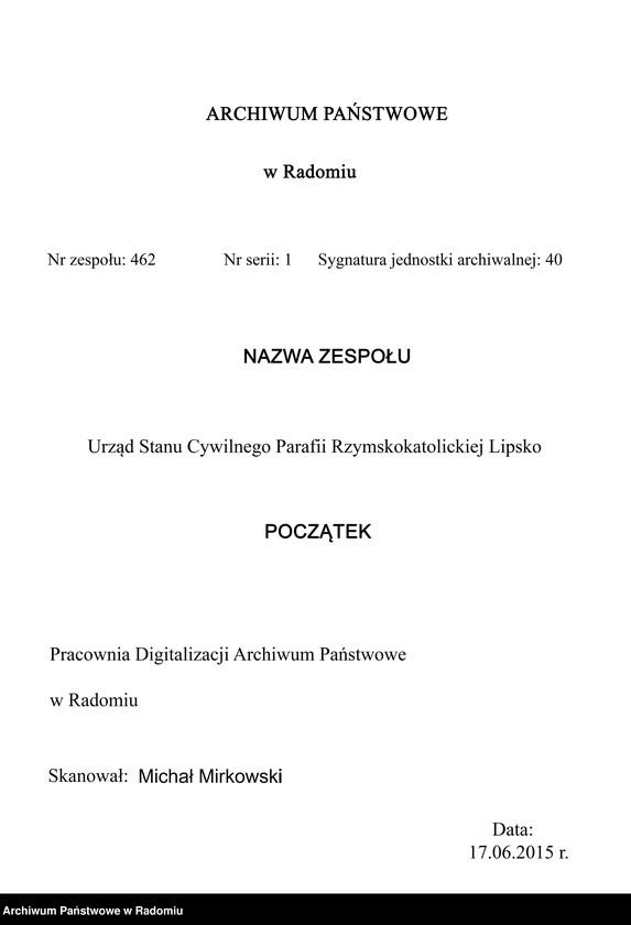 """Obraz 4 z jednostki """"[Duplikat akt urodzonych, zaślubionych i zmarłych parafii Lipsko za 1914 r.]"""""""