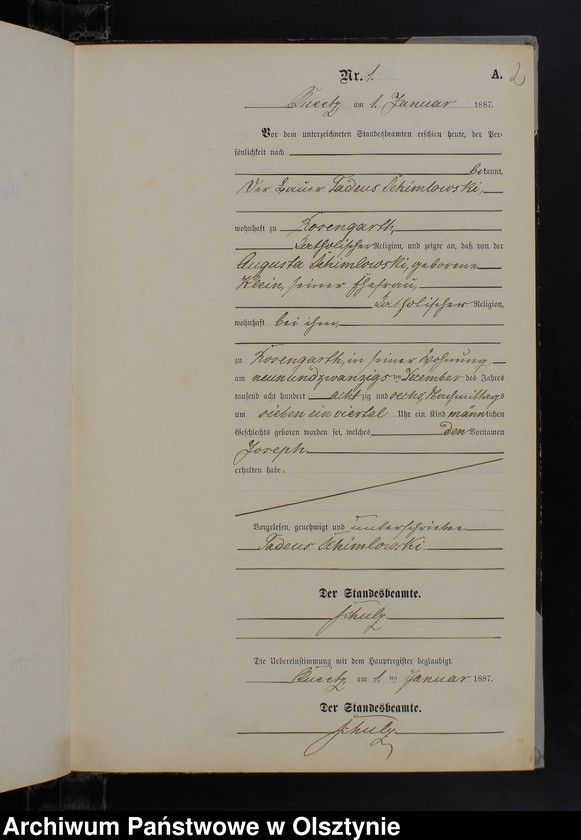 """Obraz z jednostki """"Geburts-Neben-Register Nr 1 - 76"""""""