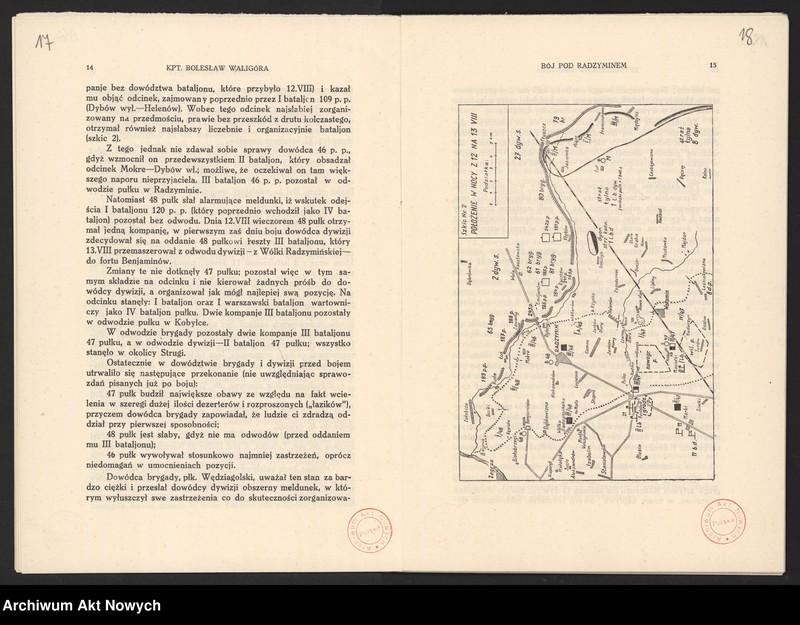 """Obraz 13 z jednostki """"Materiały dotyczące wojny 1920 roku. Odpisy akt, plany, wycinki prasowe. """""""