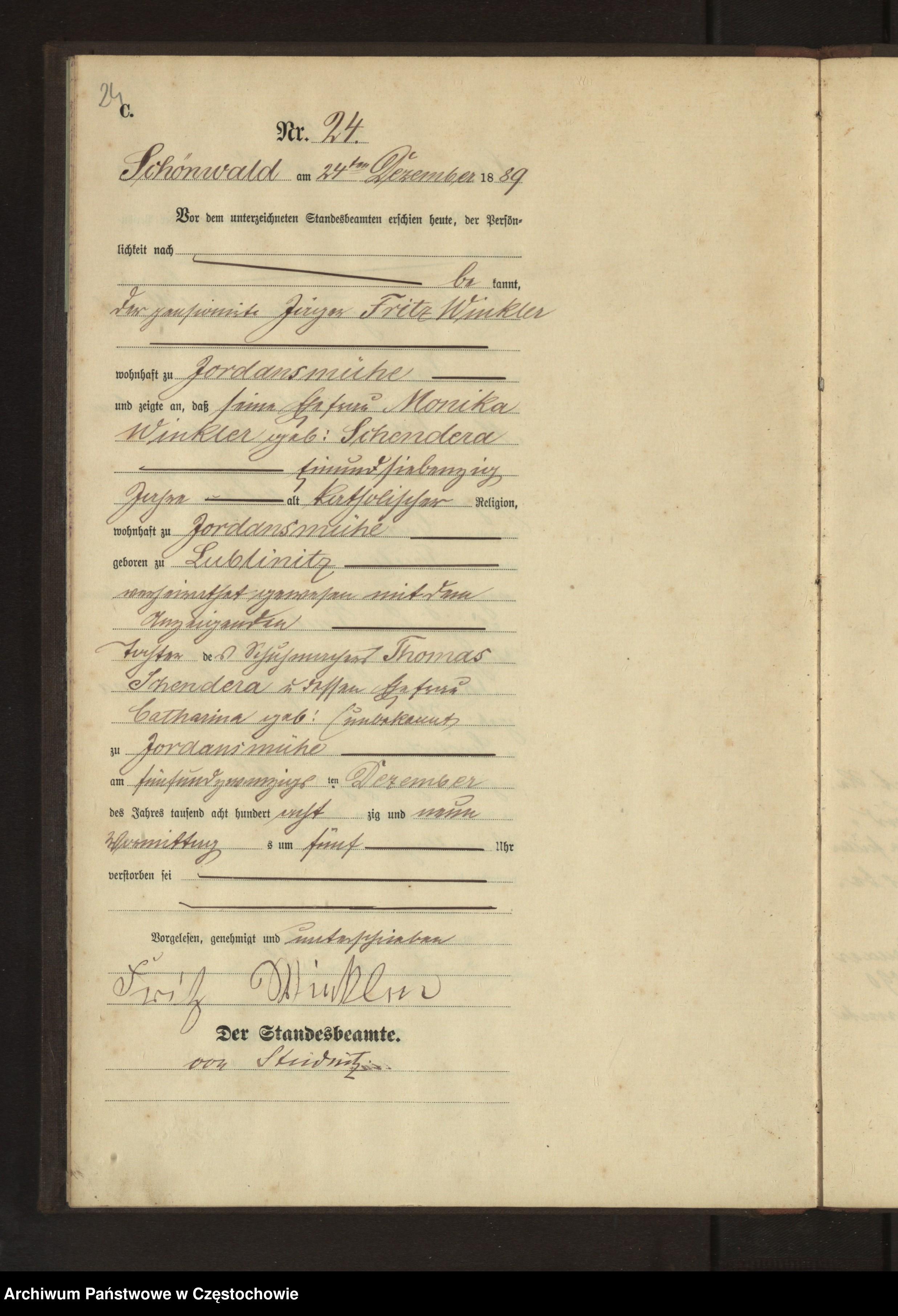 Skan z jednostki: Sterbe - Haupt Register des Könglich Preussischen Standesamts Schönwald im Kreise Rosenberg O/Schl. pro 1889.