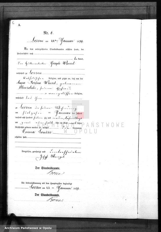 "Obraz 9 z jednostki ""Geburts-Neben-Register Standes-Amt Lossen 1879"""