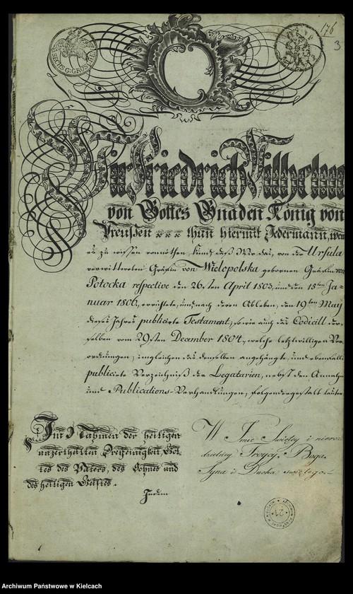 """Obraz z jednostki """"Testament Urszuli z Potockich Wielopolskiej, żony Hieronima"""""""