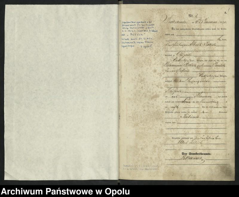 """Obraz z jednostki """"Urząd Stanu Cywilnego Kobylice Księga urodzeń rok 1890"""""""
