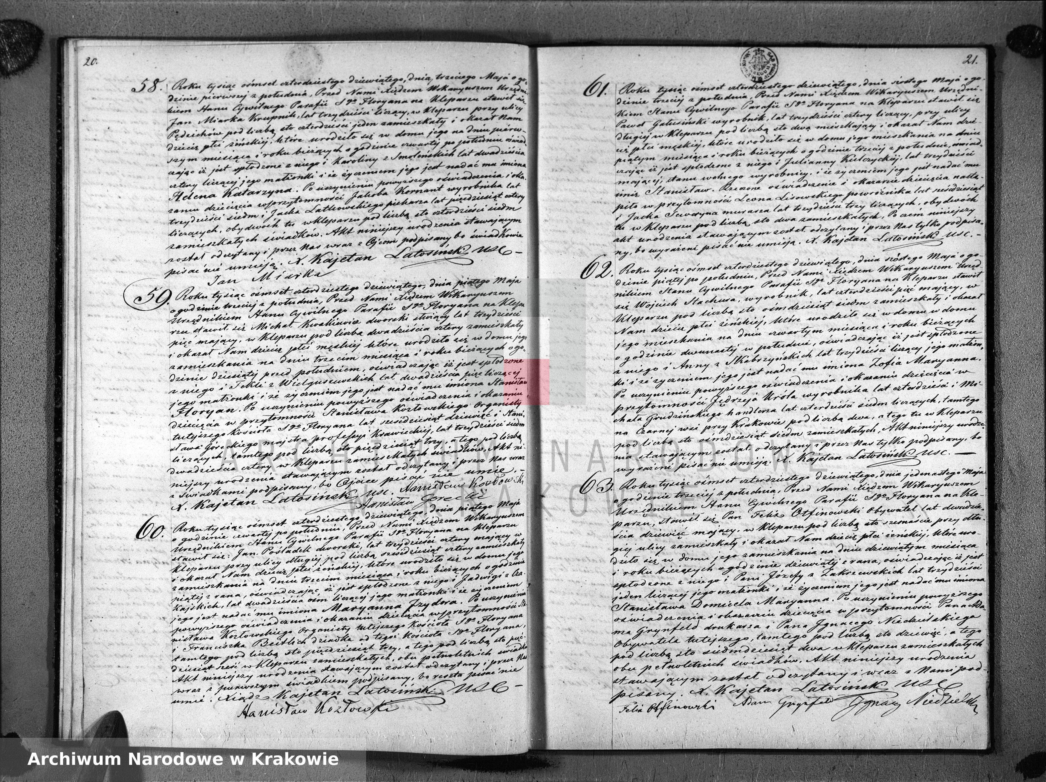 Skan z jednostki: Księga Aktów Urodzenia Uznania i Przysposobienia dla Parafii S o Floryana na Kleparzu na rok 1849