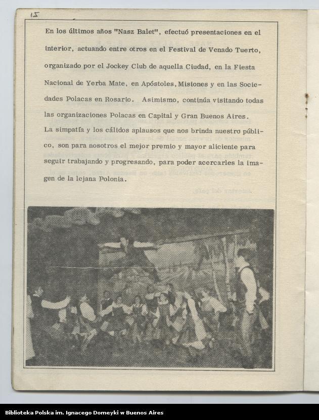 """Obraz 12 z kolekcji """"Nasz Balet 1949-1974 z Biblioteki Polskiej im. Domeyki w Buenos Aires"""""""