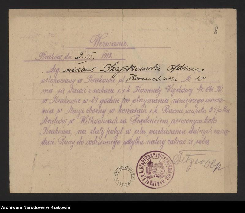 """Obraz 15 z jednostki """"Pocztówki legionowe, zaproszenia i programy, znaczki, nalepki."""""""