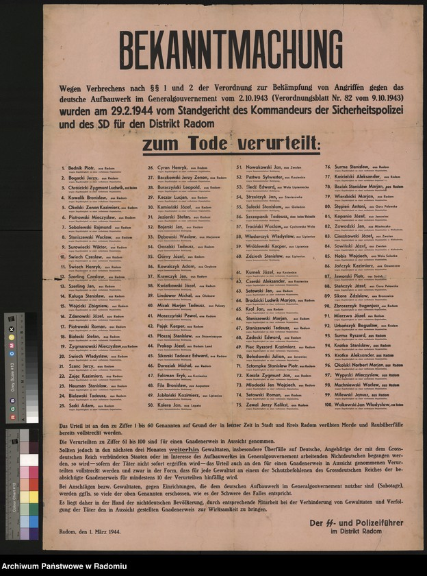 """Obraz 1 z kolekcji """"Represje niemieckie w Dystrykcie Radomskim."""""""