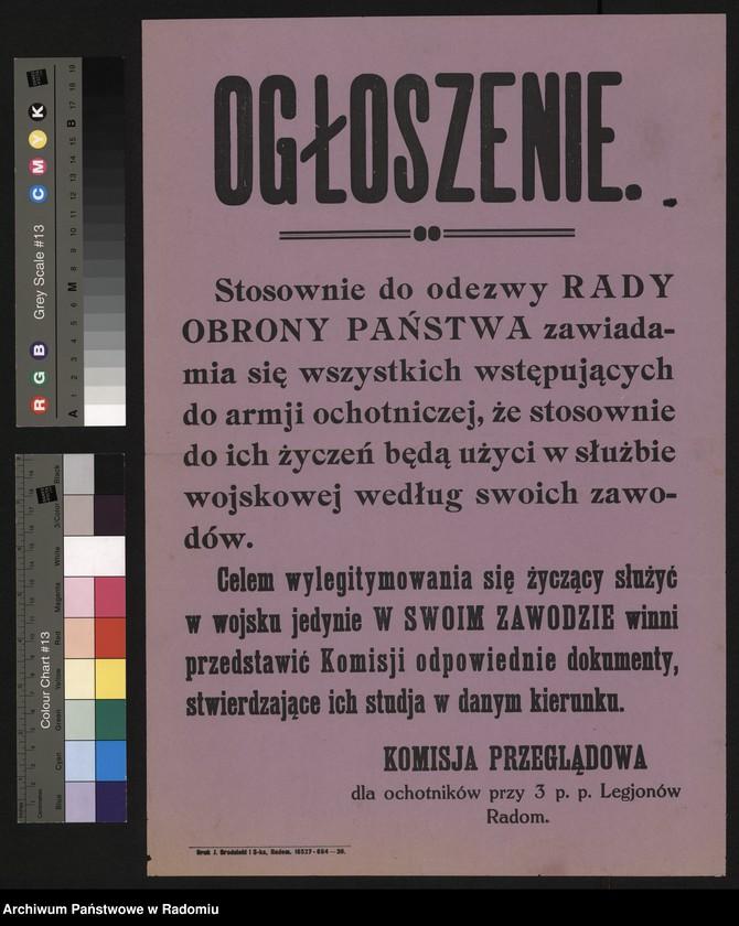"""Obraz z jednostki """"Ogłoszenie Komisji Przeglądowej dla Ochotników przy 3 pp. Legionów w Radomiu w sprawie przyjęć do armii ochotniczej"""""""