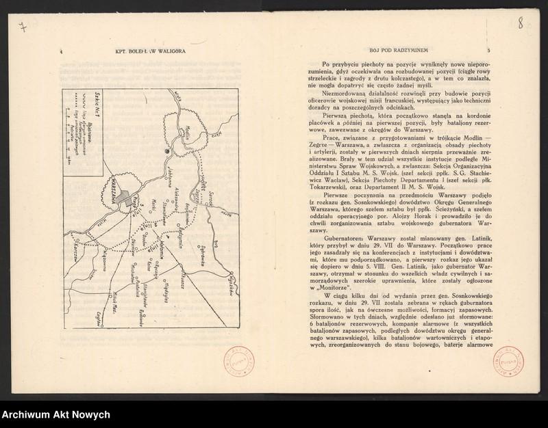 """Obraz 8 z jednostki """"Materiały dotyczące wojny 1920 roku. Odpisy akt, plany, wycinki prasowe. """""""
