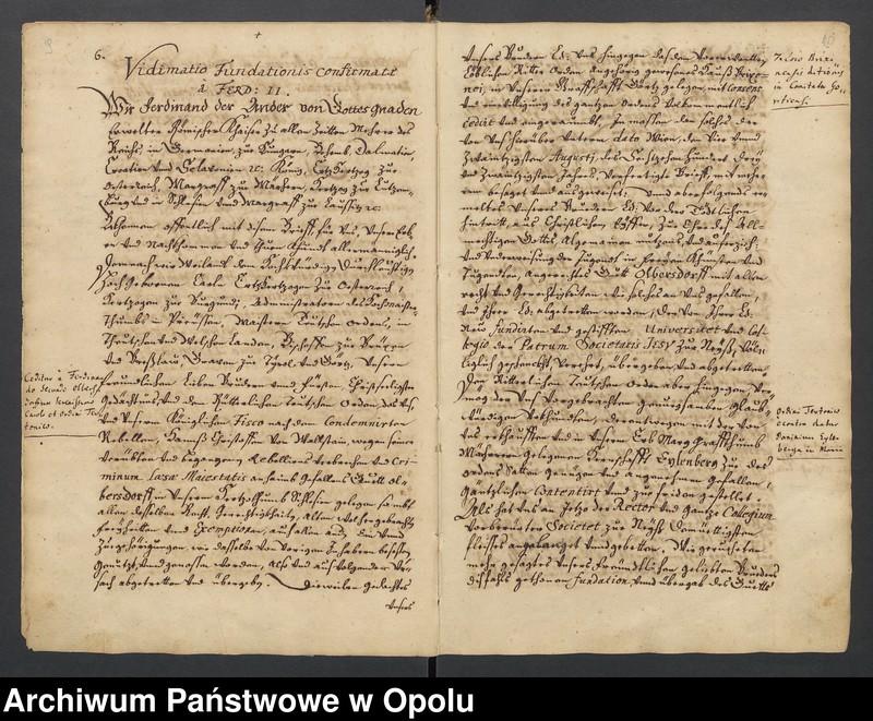 """Obraz 1 z kolekcji """"Księga dokumentów fundacyjnych Kolegium Jezuitów w Nysie"""""""