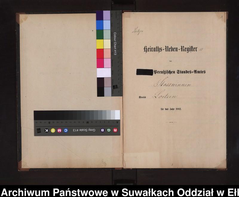 """image.from.unit """"Heiraths-Neben-Register des Preussischen Standes-Amtes Stasswinnen Kreis Loetzen"""""""